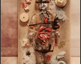 Ooak Macabre  Cabinet of Curiosities Witches Poppet Display voodoo doll