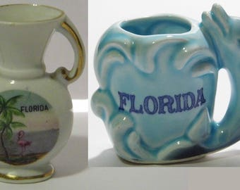 Florida souvenir keepsakes 2 to choose Blue Dolphin Ocean Wave or Pink Flamingo -or FUN craft supplies what will you make? More fun in shop!