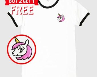 Unicorn#102 Embroidered Ringer T-Shirt by 24PlanetsStudio