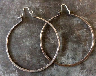 FLASH SALE! XL organic forged copper hoops