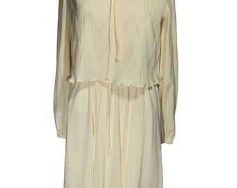 Vintage Amy-Deb Cream Colored Dress Pleated
