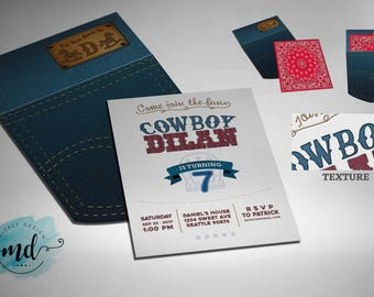 Cowboy Jeans Pocket Invitation Printable