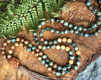 African turquoise mala necklace / Mala beads 108/ 108 Mala beads / Boho mala necklace  / Boho mala beads / 108 Mala necklace / 108 mala