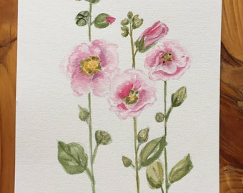 Original Watercolor, Hollyhocks