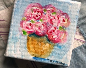 An Original Watercolor on Canvas, Roses in Vase