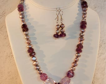 Amethyst and Fresh Water Pearl Necklace with Matching Earrings.