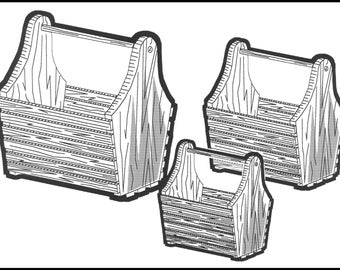 Basket Totes, 3 Handy Sizes. # 176 Woodworking / Craft Patterns,  Same Size, Outline Drawings, Trace and Create. No Enlarging or Reducing!