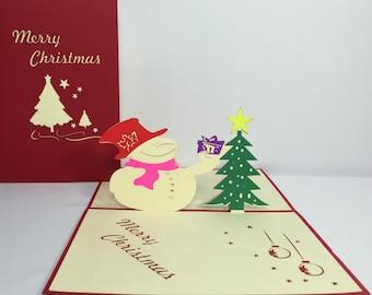 Funny Snowman & Christmas Tree - Merry Christmas 3D Handmade Card for Kids - Pop Up Christmas Gifts Card - Funny Christmas Decoration Card