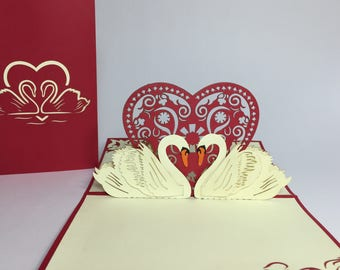 Pop Up Swan Couple Valentine's Day Card - Swan Couple Pop Up Love Card - Pop Up Anniversary Card - Wedding Card - Proposal - Engagement Card