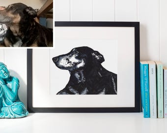 Custom Portrait - Hand drawn from photo, A4 sized, framed or unframed - Pet