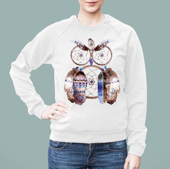Boho Owl Dreamcatcher | American Apparel Unisex California Fleece Raglan | Graphic Sweatshirt | Watercolor native art | Hippie | ZuskaArt
