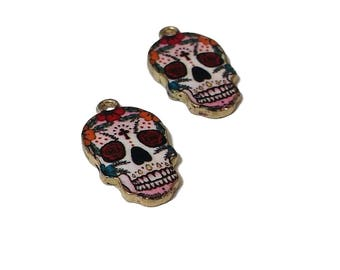 2 Sugar Skull Charms | Dia De Los Muertos | Colorful Skull |  Day of the Dead Charm | Skull Pendant | Ready to Ship from USA | EN566-2