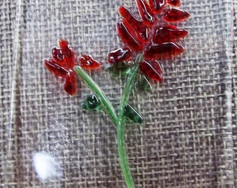 Indian Paintbrush (Castelleja) Fused Glass Suncatcher