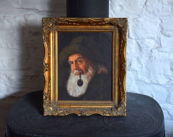 Fisherman,oil painting,oil on board,Lee young,oil painting sailor,pipe smoking,sailor,vintage,portrait,beard oil,beard,wall art,home decor