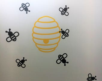 Bumblebee And Hive Wall Decal Set Nursery Decor Bee Classroom