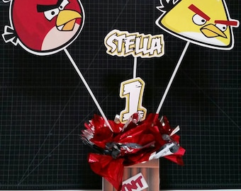 Angry birds centerpiece, angry birds party supplies, angry birds birthday party, angry birds tableware, angry birds decoration, pre-assemble
