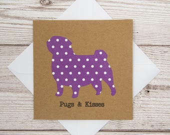 Pugs and Kisses Card, Cute Pug Card, Pug Lovers, Dog Lovers, Dog Owner, Birthday Card, Thank You Card, Dog Sitter Card, Dog Walker Card