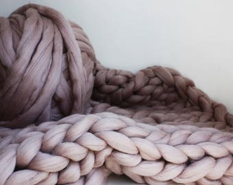 Chunky Knit Throw, Mink Knit Blanket, Blush Knit Throw, Knit Merino Blanket, Pink Giant Knit Blanket, Housewarming Gift, Mink Wool Throw