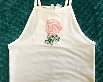Rose Hand Embroidered Crop Tank Top