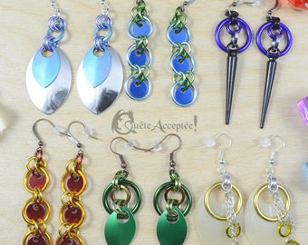 2xBoucles d'oreilles donjons et dragons cotte de maille - DEUX PAIRES - jeux de rôle, magie quatre éléments pathfinder elfe druide princesse