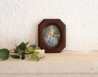 Period Portrait on Silk, 1970s Wall Decor, Small Wooden Frame, Small Picture