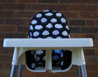 Clouds IKEA High Chair Cover, IKEA Antilop Cover, Highchair Cover, High Chair Cushion, High Chair Insert, First Birthday, Monochrome Nursery