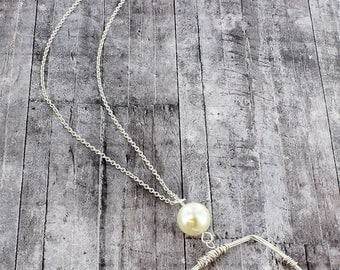Worn Silvertone Wire Wrapped Square and Pearl Pendant Necklace