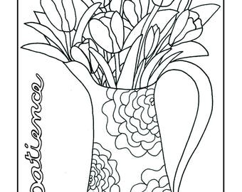 Inspiring, Hand Drawn Coloring Pages for Adults 5 Page BUNDLE DEAL