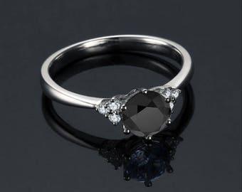 Black Diamond Engagement Ring 14k White Gold / Yellow Gold / Rose Gold Round Black Diamond Ring Modern Engagement Ring Proposal Ring