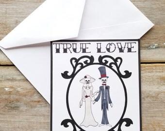 Gothic Cards - Skeleton Wedding Card - Gothic Wedding - Skeleton Card - Gothic Greeting Card - Halloween Wedding - Tattoo Card