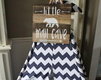 Little man cave sign, teepee sign, little man cave playroom sign, little man cave painted wood sign, Little boys room, boys bedroom sign