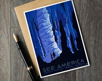 See America travel poster, US travel posters, vintage birthday cards, USA christmas cards, bon voyage cards, wish you were here, pen pals