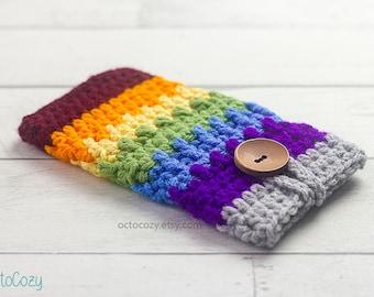 Rainbow Mobile Phone Case, Cool iPhone Cover, Handmade Crochet Custom Phone Case, Vegan Pouch