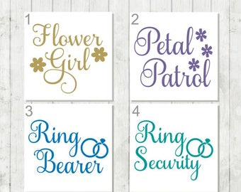 Petal Patrol Decal, Flower Girl Decal, Ring Bearer Decal, Wedding Party DIY Decals, Wedding Decals, Flower Girl Gift, Ring Bearer Gift