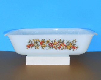 Anchor Hocking, Fire King, oven proof 1 QT dish,  Harvest Design, Made in USA Baking dish, Loaf pan
