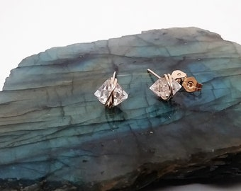 Herkimer Diamond 14k Gold Filled Wire Crystal Stud Earrings