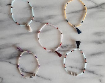 Personalised Name, Initial, Letter Delicate Beaded Bracelets