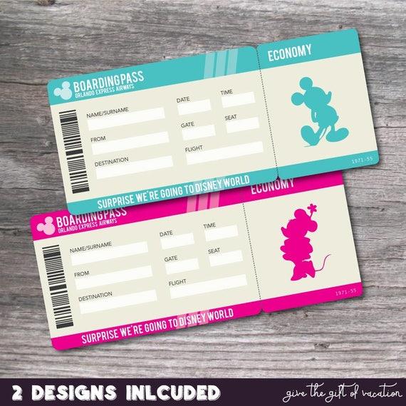 printable pdf ticket for surprise walt disney world trip