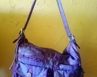 Tie dye Denim Handbag Silver Buckle Adjustable Strap Pockets Purple