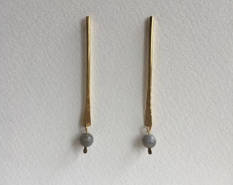Brass stick earrings with Labradorite