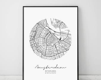 Circle Map Amsterdam, Circle City Map, Circle Amsterdam, Amsterdam Map, Amsterdam, Modern Amsterdam Map, Amsterdam Map Print