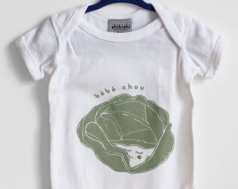 Bébé chou, Baby onesie, baby gift, birth gift, cabbage, screenprinted, hand made, made in canada, made in québec