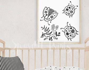 Girl Nursery Decor, Ladybug Wall Art, Baby Room Decoration, Nature Art Print, Bug Birthday Party, Cute Desk Accessory, Digital Art Download