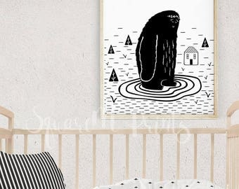 Cute Monster Print, Boys Room Art, Yeti Nursery Decor, Baby Monster Nursery, Printable Kids Room Decor, Black and White Nursery Wall Art