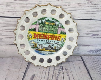 Memphis on the Mississippi Home of Elvis Presley Tenesse Vintage Decorative Plate Trip Vacation Souvenir Holiday Gift Travel USA MC Art co