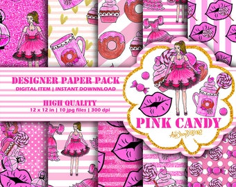 Digital Paper Pink Candy, Sugar Candy, Sweet, Pink Paper Pack, Cute Illustration, Fashion Illustrations, Cute, Beauty Digital Background,