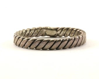 Vintage Thin Twisted Design Band Ring 925 Sterling Silver RG 2790