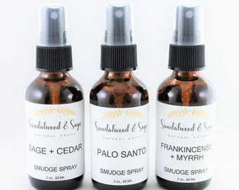 Bundle of Two Smudge Sprays // Two-Pack of Smudge Sprays // Sage and Cedar Smudge Spray // Palo Santo Smudge Spray // Frankincense & Myrrh
