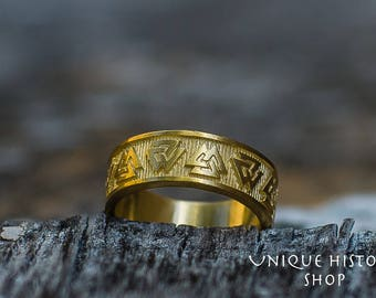 14K Gold Valknut Ring Viking Symbol Ring Handmade Norse Jewelry