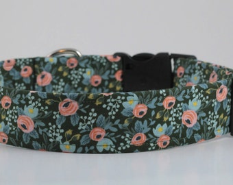 Rosa Floral in Hunter Dog Collar